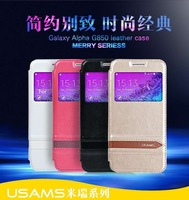 USAMS Brand Window View Design pu leather Flip Case For Samsung Galaxy Alpha G850, in retail box, 10pcs/lot Freeshipping