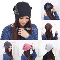 Adult Hats Diamond Skull Hedging Cap Winter Warm knit Caps Women Skull Caps Free Shipping 5 PCS