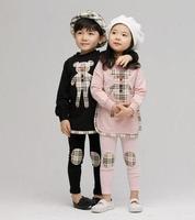 Free Shipping New Autumn Winter Children's sets Kids Boys Girls Little bear long Hoodie + Leggings 2pcs/set