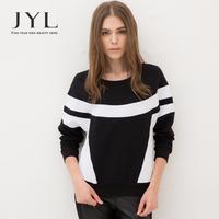 2014 Autumn/Winter JYL Black and white patchwork women pullover sweatshirt,urban hippie casual printed sweatshirt sportwear