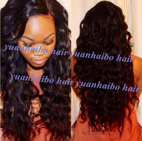 Stock Grade 6A #1B pretty wavy virgin malaysian lace front wig for black women natural hairline free shipping