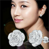 High Quality!!  Women 925  Sterling  Silver Sakura Flower  Oriental Cherry Stud Earrings Women Jewelry