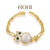 ROXI Best Gift For Girlfriend Genuine Austrian Crystals Sales Yellow Gold Plated Owl Bangle Bracelet Jewelry Party