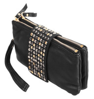 Hot! 2014 New Fashion Women Korean Style PU Leather Handbag Rivet Lady Clutch Purse Wallet Evening Bag Women Travel Bags