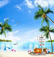 10X10ft Coconut Tree Beach Scenic Background For Photo Studio Photography Backdrop Muslin Fabric Digital Cloth Backdrops