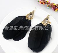 Black finding fishhook earrings + Feather + Acrylic beads earrings + Fashion jewelry earrings + Free shipping!!!