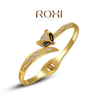 ROXI Best Gift For Girlfriend Genuine Austrian Crystals Sample Sales Yellow Gold Plated Fox Bangle Bracelet Jewelry Party