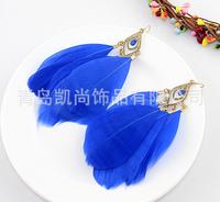 Blue finding fishhook earrings + Feather + Acrylic beads earrings + Fashion jewelry earrings + Free shipping!!!