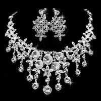 Free Shipping Tassel Waterdrop  Luxurious Crystal Bridal Jewelry Sets  African Jewelry Set Wedding Jewelry Accessories Necklace