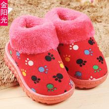 niña niños invierno nuevo caliente primero caminantes zapatos de goma, tela de algodón térmico suave polar bebé zapatos zapatillas bebé, ventas(China (Mainland))