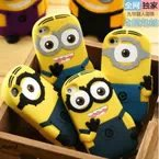 MQQ:1 Pcs 3D Cute Cartoon Despicable Me Minions Little Yellow Doll Soft Silicone Case Cover For iPhone 6 6G (4.7 inch)