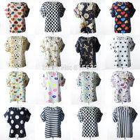 2014 Summer New Women Blouses fashion Chiffon Tops Shirts Vest chiffon Printed Short Sleeve loose top Shirt T-shirts Size S-2XL