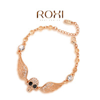 ROXI Best Gift For Girlfriend Genuine Austrian Crystal Sample Sales Gold Plated Chain Skeleton Bracelet Cuff Jewelry