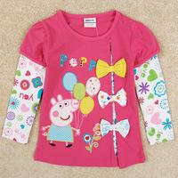 Free DHL/EMS 10pcs/lot girl T shirt embroided peppa pig bow sweatshirt 2014 pepa the autumn clothing long Sleeve Children's wear