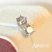 AUSINE Fashion Classical CZ Little Ear Stud Earrings Copper with Platinum Plated Last-long Crystal Girl Ear Stud