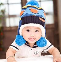 2014 New Lovely bear Children knit Hats baby boys Winter fur Hat with villi inner Kids Earflap Cap 1-4 Years Old