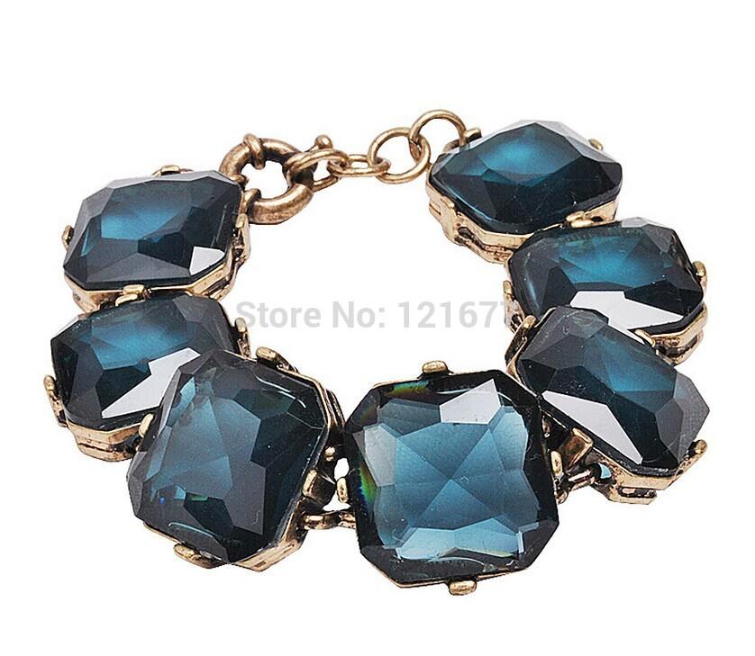 Fashion Luxury Square Crystal Beads Chunky Bracelet Vintage Navy Rhinestone Beads Statement Bangle Concise Accessories B0090(China (Mainland))