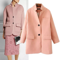 2014 NEW Autumn Winter Women's Vintage Stand Collar Wide Waist Wool Blends Windbreaker Trench Mid- long Coat