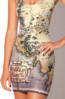 Hobbit Map Casual Dress 2014 Summer Women Print dresses Vestidos Femininos Bandage Dress Party Club de renda Free Shipping