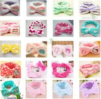 30pcs/lot Free Shipping Fall Winter Double layer Flannel Large Bow Hair Band Hairwrap Bandanas Turban Wash Face Hair Towel Bands