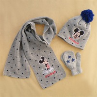 3pcs/set Free Shipping 2014 Winter New Grey Mickey Design Knitted Hat Scarf and Gloves Baby Girl Cartoon Kids Chrismas gift