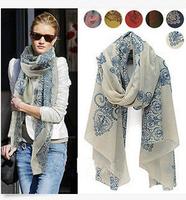 Wholesales Fashion Women Long Print Cotton Scarf Wrap Ladies Shawl Girls Large Silk Scarves Mixed Color