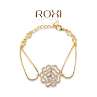 ROXI Best Gift For Girlfriend Genuine Austrian Crystals Sample Sales Yellow Gold Plated Rose Link Bangle Bracelet Jewelry