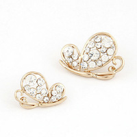 2014 New Fashion Korean Style Gold  Plated White  Crystal Butterfly Earrings For Women #ftbbay_110302102