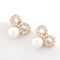 2014 New Fashion Korean Style Crystal Bowknot Simulated Big Pearl Stud Earring For Women # ftbbay_11053908