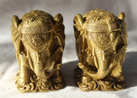 Lucky China Chinese Fengshui Brass Fu Money Wealth Rich Elephant Statue Pair