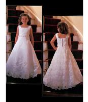 Wedding Flower Girl Bridesmaid Communion Dress Tailored white lace applique