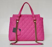 Top quality original brand vintage chain real caviar leather hot pink women fashion handbag shoulder bag free shipping wholesale