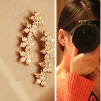 Elegant style charm crystal flower design earring clip women gold plated clip earring rhinestone earring clip cuff wholesale