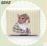 Original Cute squirrel Cartoon Print Girl Short Wallet Card Package