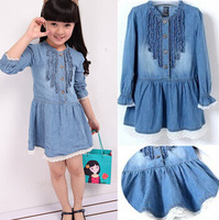 2014 New Girls Dresses Casual denim dress Lovely Denim Blue Beautiful Lace princess dress children's clothing