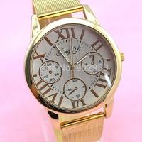 Golden mesh belt band watch Ladies Luxury Brand Gold Colors Alloy Straps Watch Quartz Analog 100pcs/lot by DHL