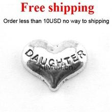 trasporto libero charms galleggianti cuore figlia , nuovi charms medaglione galleggiante ragazza(China (Mainland))