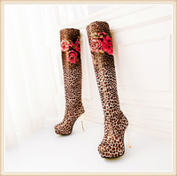 New arrival 50% discount print flower Winter 2014 high heeled12cm over-knee high boots SEXY Leopard boots blue pink size 34-43