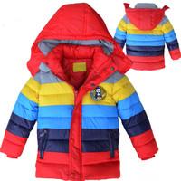 Wholesale New children winter wadded jacket stripe patchwork cotton padded jacket children winter coat boy winter down jacket