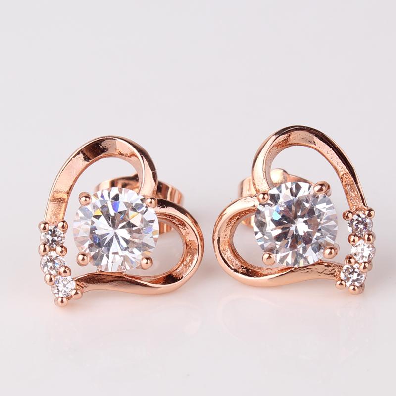 2014 Fashion Love Heart Earrings 18k Rose Gold Plating Earing White Crystal Stones Stud Earrings Female