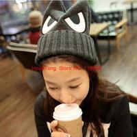 Hot Sale 2014 New Fashion Magic Angry Big Eye Ear Knitting Hat Women's Winter Beanie Cap Skulles HTZZM-412