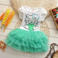2014 new arrival girls dress Hello kitty cartoon KT wings tutu dress bow veil Kids love children's clothing free shipping
