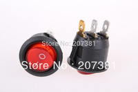 AC 6A/250V 10A/125V Red Light ON-OFF SPST Snap in Round Boat Rocker Switch 3 Pin =*