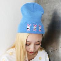Hot Sale 2014 New Fashion Women's Winter Beanie Cap Bowknot Skull Knitting Hat Lady Skullies HTZZM-414