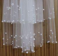 4 layers bride veil handmade sticky beads white ivory wedding veil comb