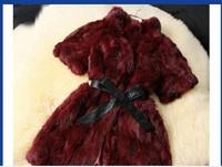Wine red rabbit hair short sleeved imitation fur coat wholesale