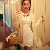South Korea shrug large pearl hollow long sweater knit cardigan jacket YM1002