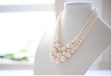 Luxury pearls bib necklace/fashion necklaces jewellery womens wedding accessories/collier/bijoux/colar/perolas/joyas/gargantilha
