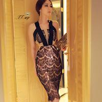 2015 Hot Sale Ball Gown Half Party Dresses Tropical Vestidos Femininos Europe Women New Summer Brand Dress Lace Corset Sexy 1504