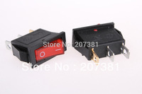 Red Light Illuminated ON-OFF I/O SPST Snap in Rocker Switch 3 Pin 15A 250V AC*